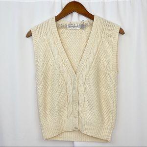 vintage hand knit cream button-up sweater vest